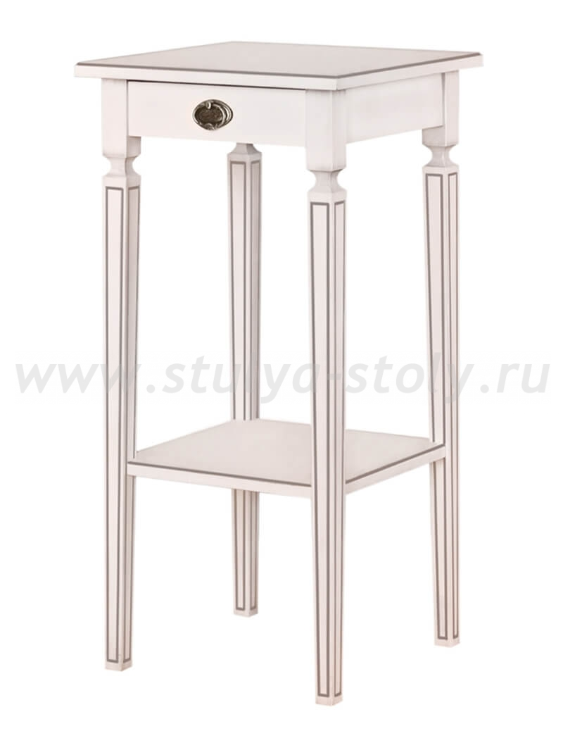 Стол Бемоль (Белый с серебряной патиной)