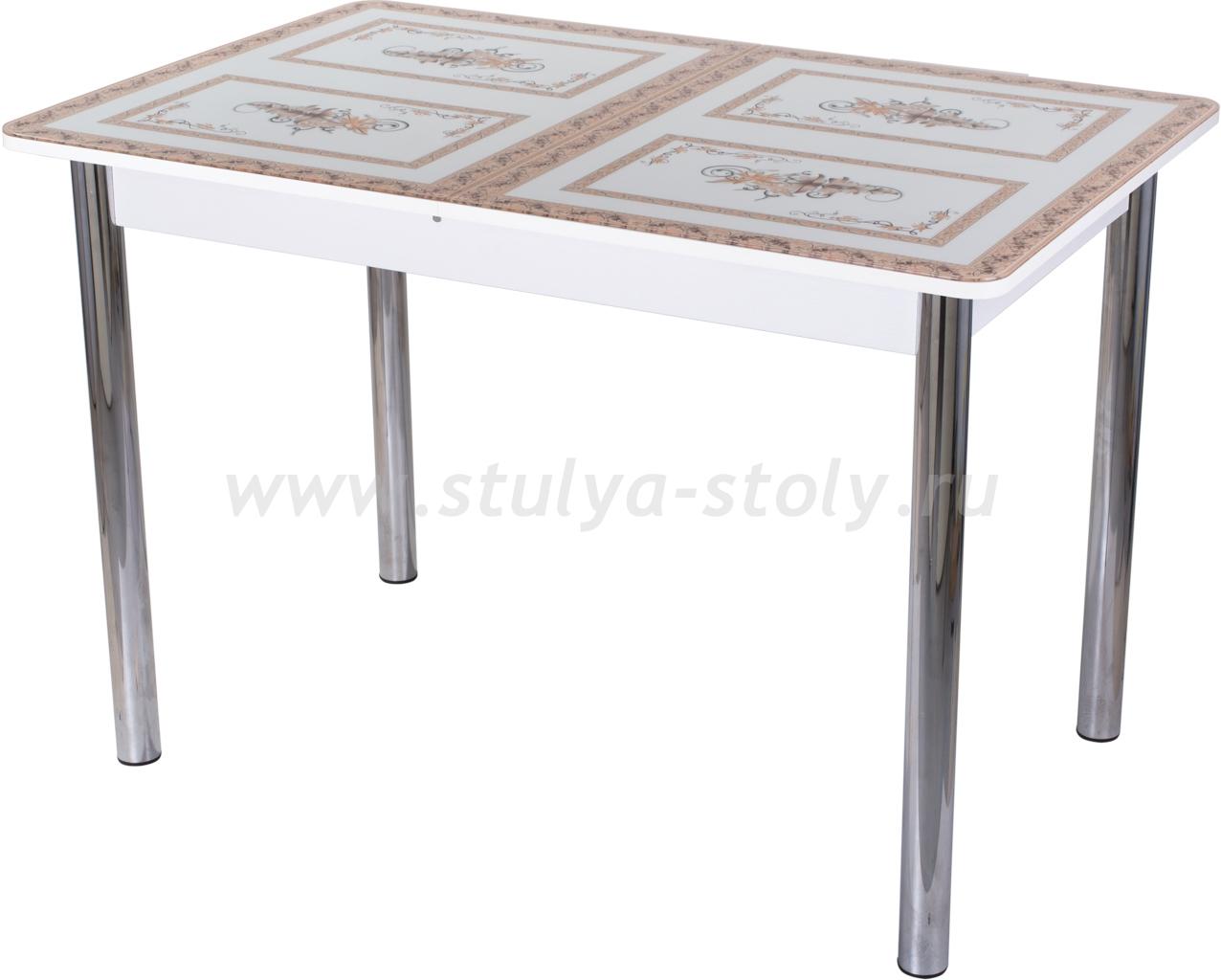 Стол обеденный Гамма ПР-1 БЛ ст-72 02 (белый с растительным орнаментом)