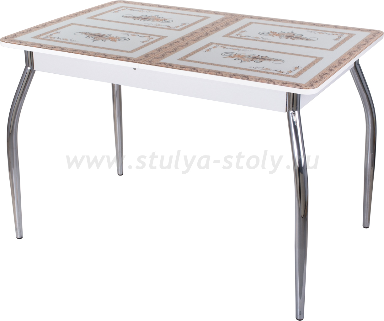 Стол обеденный Гамма ПР-1 БЛ ст-72 01 (белый с растительным орнаментом)