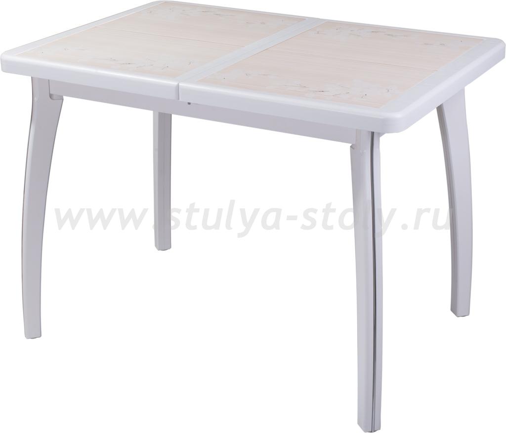 Стол обеденный Шарди ПР ВП БЛ 07 ВП БЛ пл42 (белый)