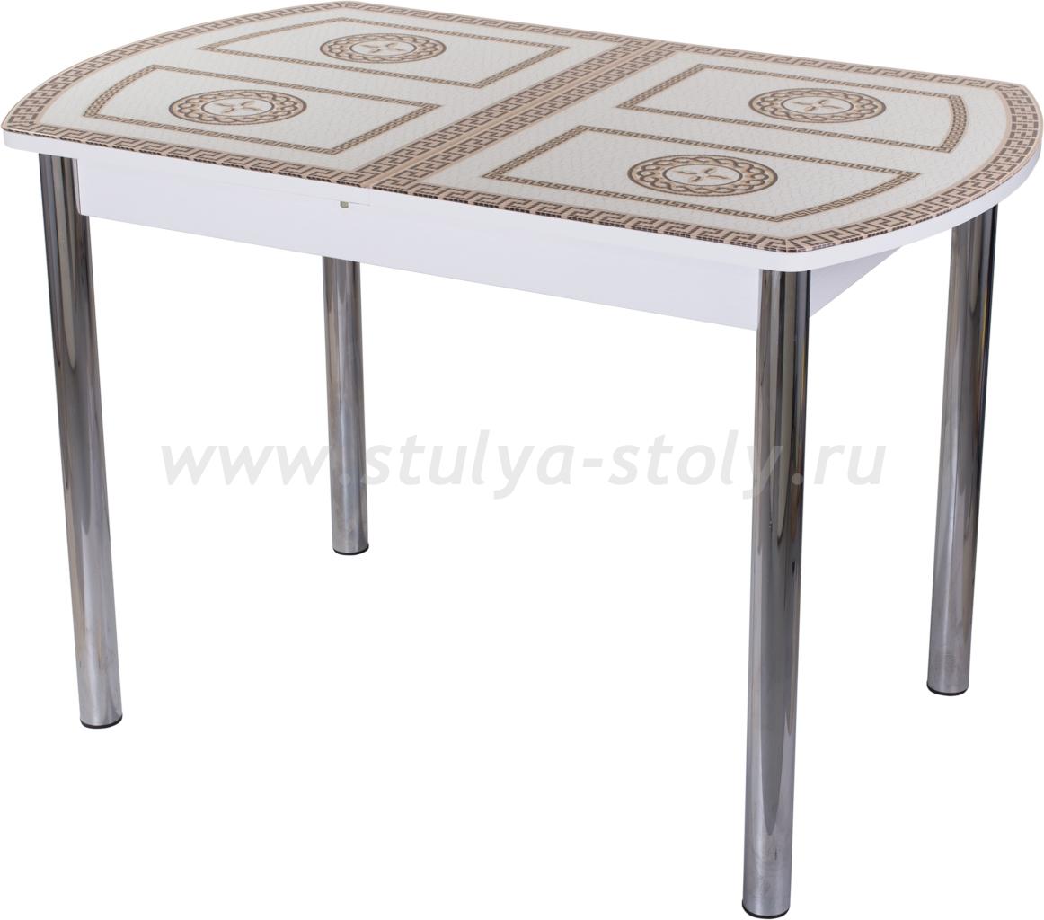 Стол кухонный Гамма ПО-1 БЛ ст-71 02 (белый с греческим орнаментом)