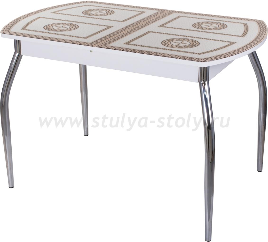 Стол обеденный Гамма ПО-1 БЛ ст-71 01 (белый с греческим орнаментом)