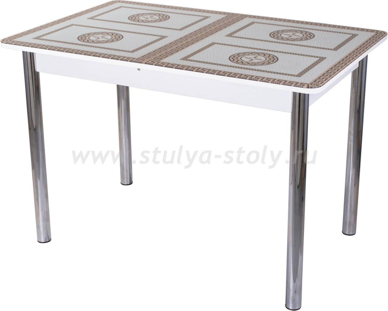 Стол обеденный Гамма ПР-1 БЛ ст-71 02 (белый с греческим орнаментом)