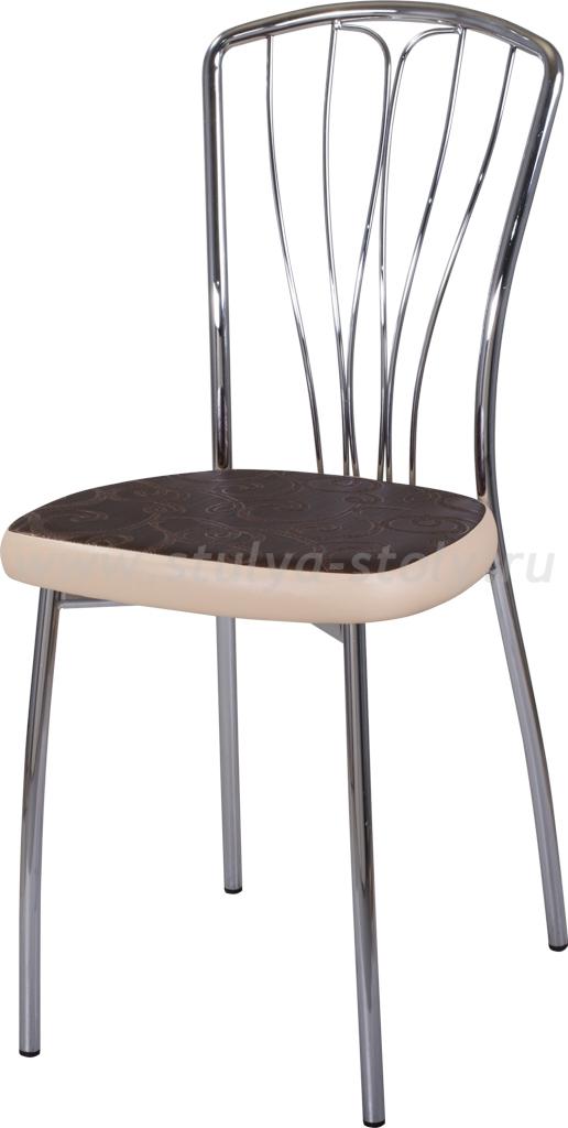 Стул кухонный Омега-3 Д-4/В-1 коричневый (темная бронза) с узором/бежевый, повышенной комфортности