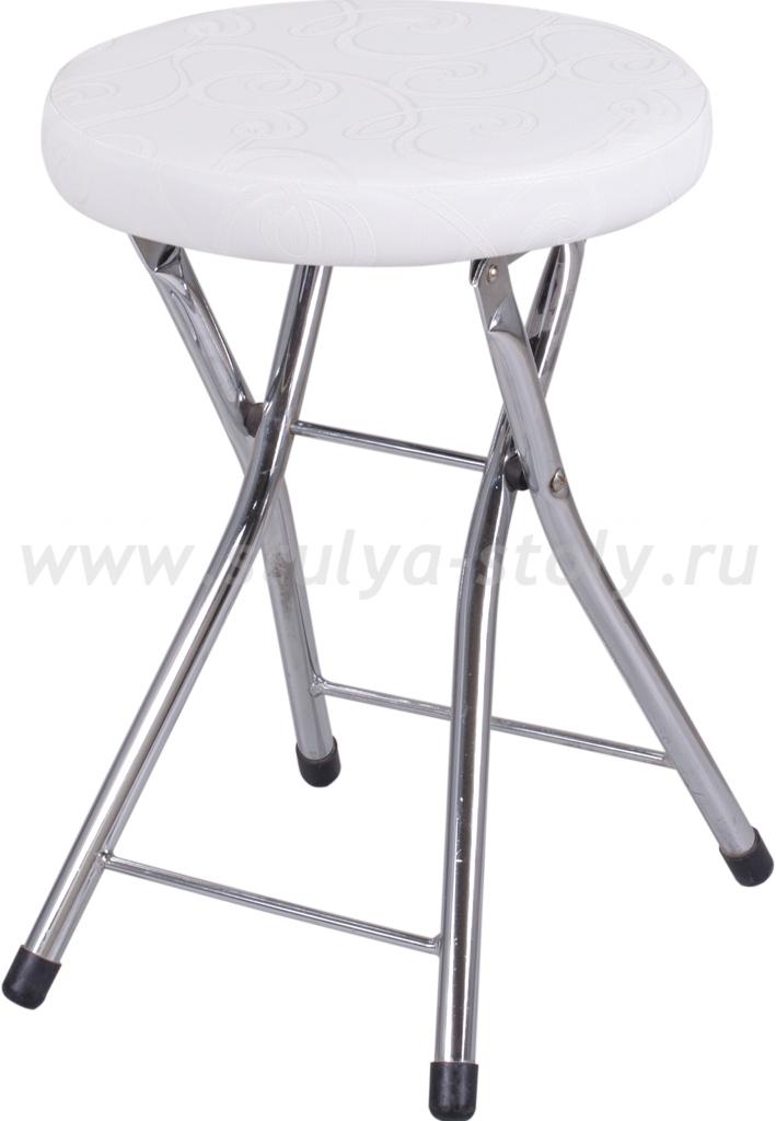 Кухонный табурет Соренто Д-0/Д-0 белый с узором, повышенной комфортности