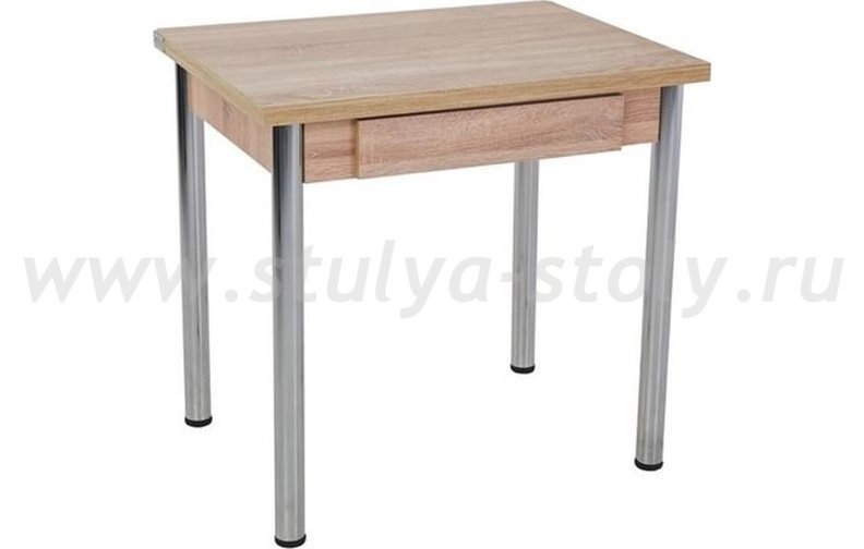 Стол обеденный раскладной с ящиком на хромированной опоре (коричневый)