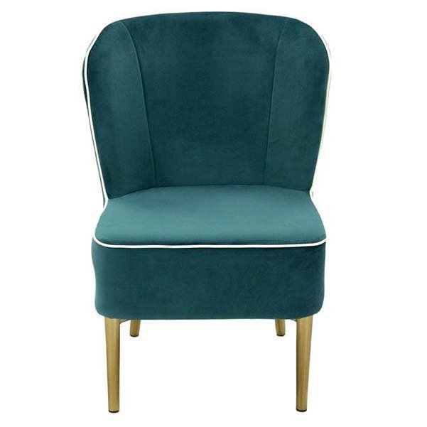 Бирюзовое кресло с золотистыми ножками в гостиную (темно-бирюзовый)