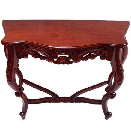 Деревянный консольный столик с узорным карнизом (вишня)