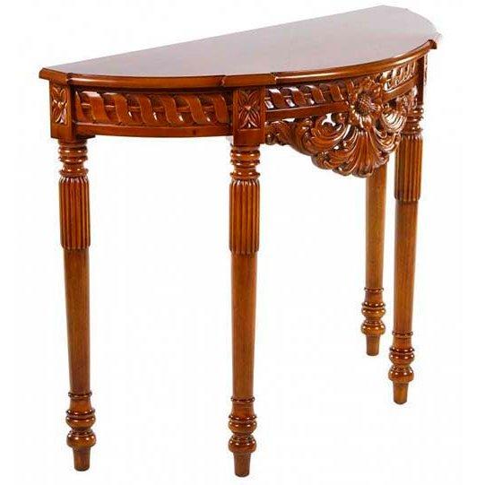 Деревянный консольный столик с узорным карнизом (итальянский орех)