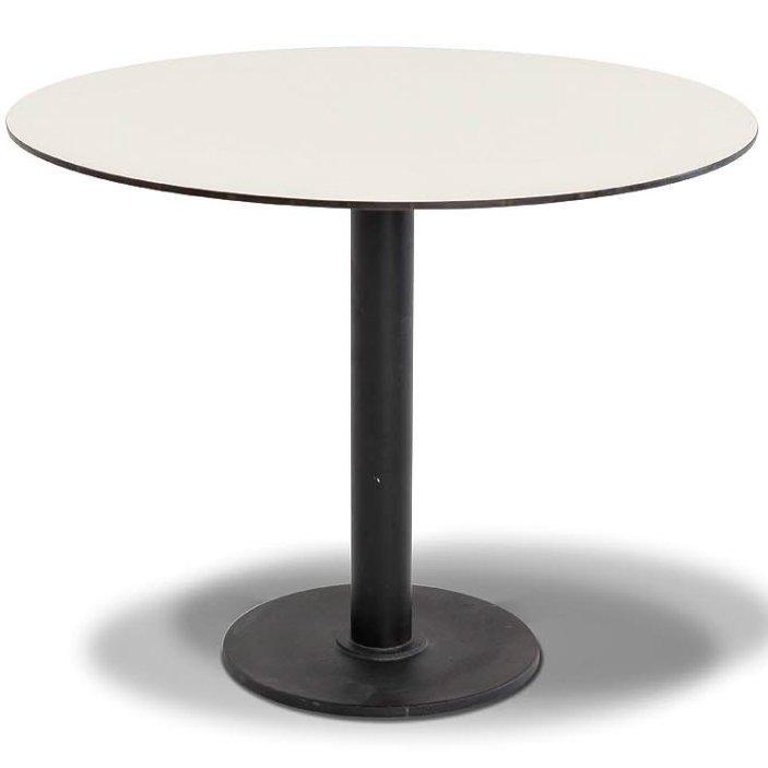 """Стол """"Каффе"""" Ø70см, столешница HPL, цвет молочный, подстолье чугун"""