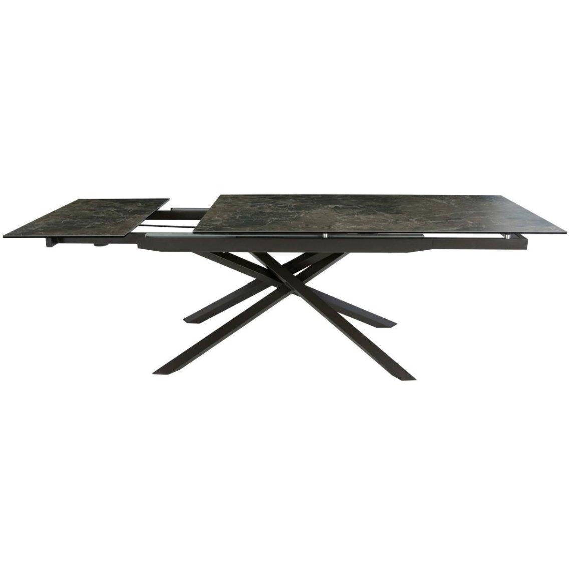 Стол обеденный с керамической столешницей (коричневый мрамор)