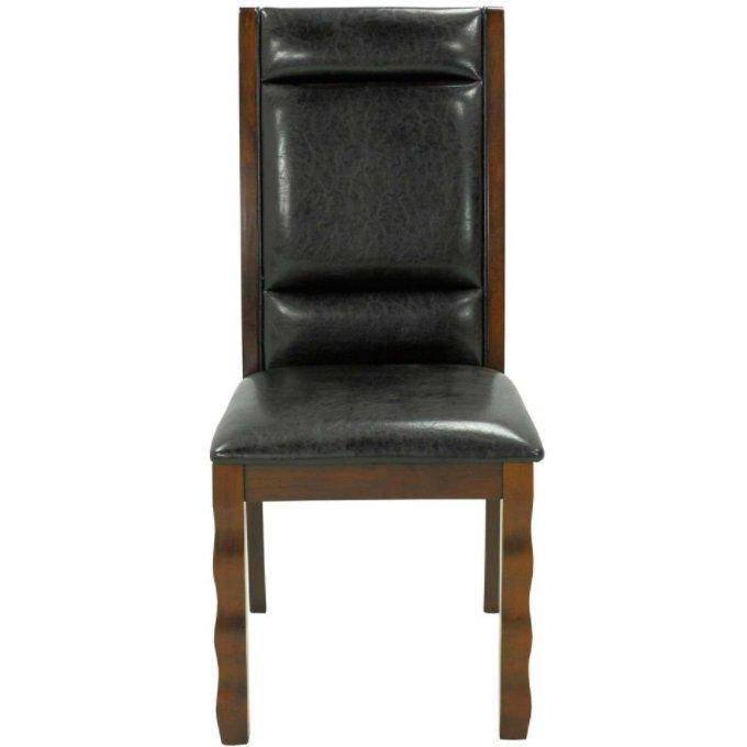 Кожаный стул из массива гевеи в современном стиле (темный орех)