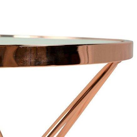 Столик журнальный в стиле хай-тек (розовое золото)