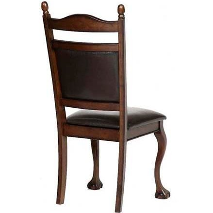 Классический стул из массива гевеи с кожаной обивкой (темный орех)