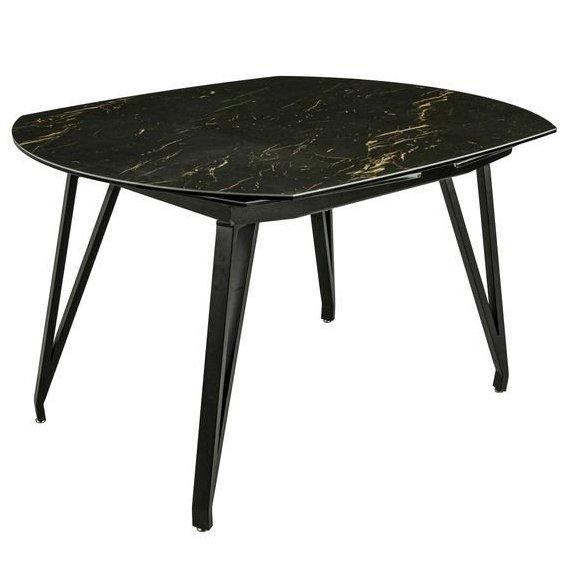 Стол раскладной обеденный с керамической столешницей (черный мрамор)