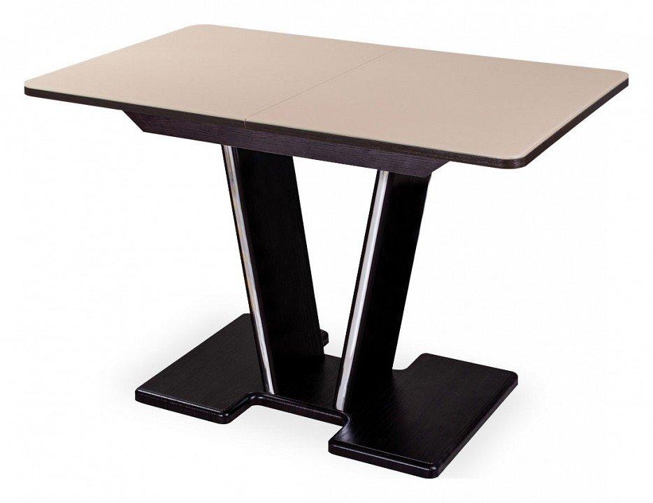Стол обеденный Танго со стеклом (бежевый)