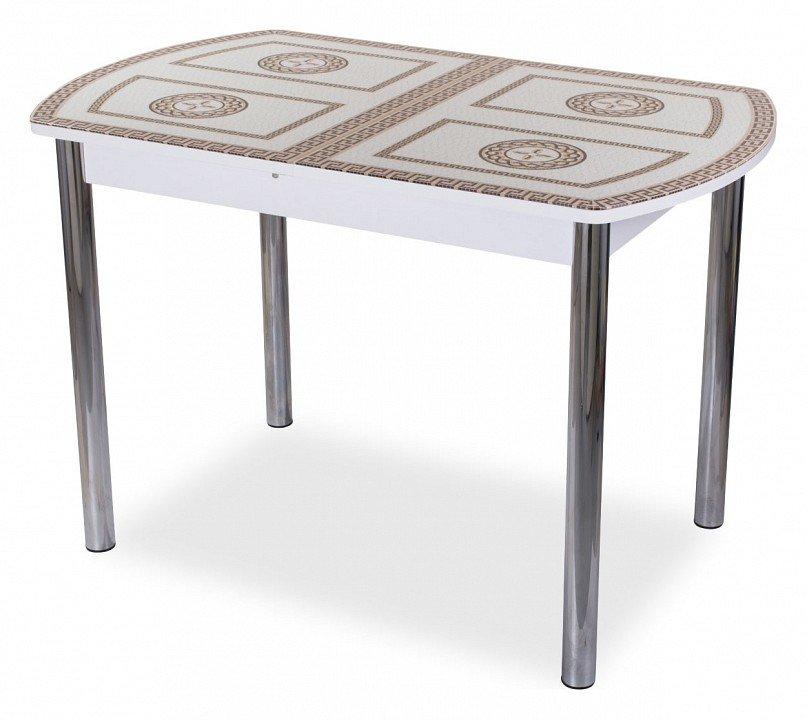 Стол обеденный Танго ПО со стеклом (белый)