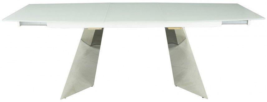 Раскладной стол со столешницей из закаленного стекла (белый)