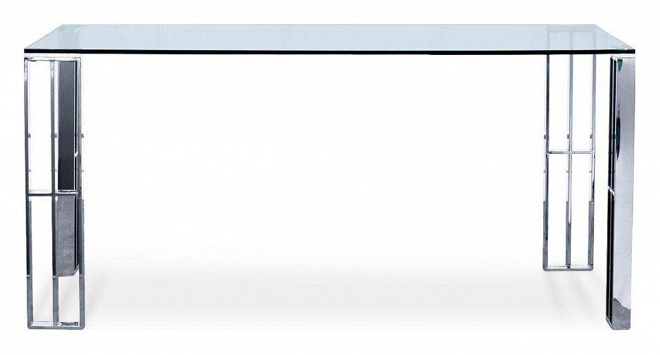 Стол обеденный, прозрачное стекло и хром (хром)