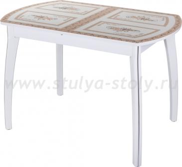 Стол обеденный Гамма ПО-1 БЛ ст-72 07 БЛ (белый с растительным орнаментом)