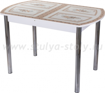 Стол обеденный Гамма ПО-1 БЛ ст-72 02 (белый с растительным орнаментом)