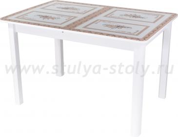 Стол обеденный Гамма ПР-1 БЛ ст-72 04 БЛ (белый с растительным орнаментом)