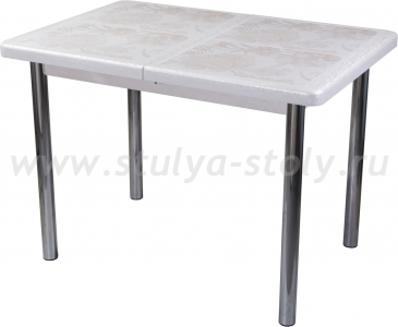 Стол обеденный Шарди ПР ВП БС 02 пл32 (бело-серебристый)
