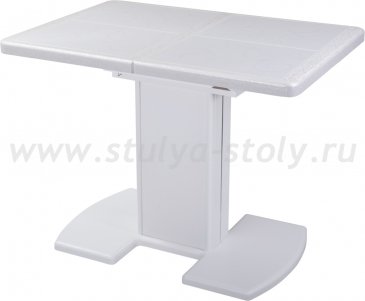 Стол обеденный Шарди ПР ВП БС 05 ВП БЛ/БЛ пл31 бело-серебристый