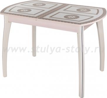 Стол обеденный Гамма ПО-1 МД ст-71 07 КР (молочный дуб с греческим орнаментом)