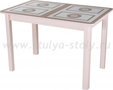 Стол обеденный Гамма ПР-1 МД ст-71 04 МД (молочный дуб с греческим орнаментом)
