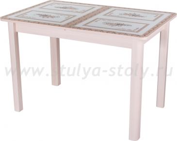 Стол обеденный Гамма ПР-1 МД ст-72 04 МД (молочный дуб с растительным орнаментом)