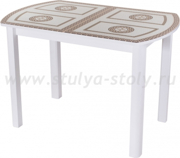 Стол обеденный Гамма ПО-1 БЛ ст-71 04 БЛ (белый с греческим орнаментом)