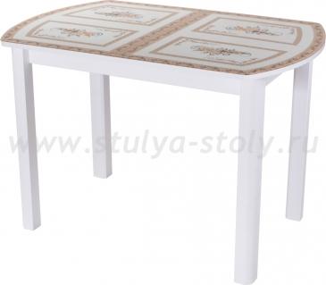 Стол обеденный Гамма ПО-1 БЛ ст-72 04 БЛ (белый с растительным орнаментом)