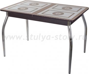 Столы со стеклом Гамма ПР ВН ст-71 01 венге, греческий орнамент (венге с греческим орнаментом)
