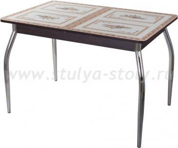 Столы со стеклом Гамма ПР ВН ст-72 01 (венге с растительным орнаментом)