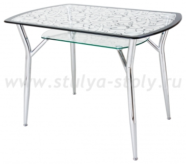 Стеклянный кухонный стол А6С-2ВН (узор венге)