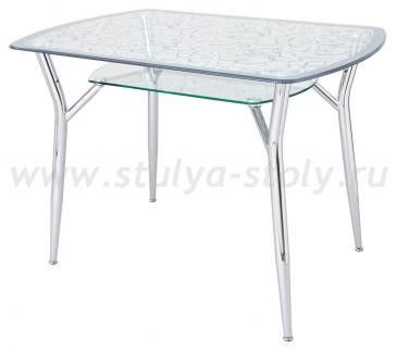 Стеклянный кухонный стол А6С-2СР (узор серый)