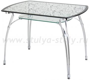 Стеклянный кухонный стол А7С (узор венге)
