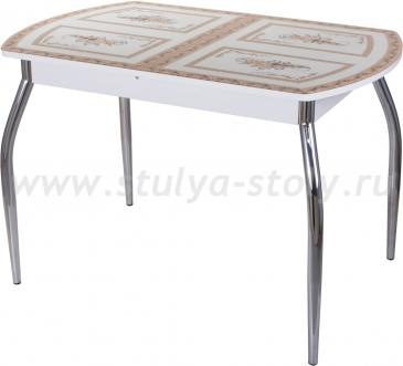 Стол кухонный Гамма ПО БЛ ст-72 01 (белый с растительным орнаментом)