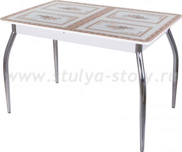 Стол кухонный Гамма ПР БЛ ст-72 01 (белый с растительным орнаментом)