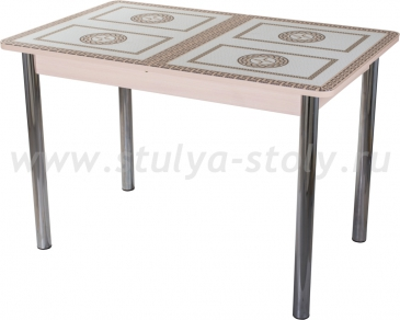 Столы со стеклом Гамма ПР МД ст-71 02 (молочный дуб с греческим орнаментом)