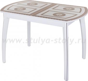 Стол кухонный Гамма ПО БЛ ст-71 07 БЛ (белый с греческим орнаментом)