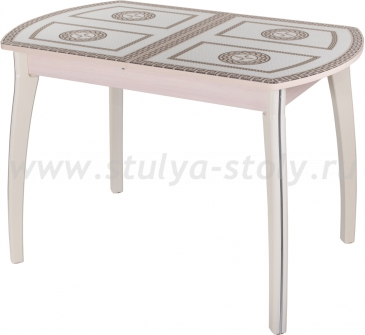 Стол кухонный Гамма ПО МД ст-71 07 КР (молочный дуб с греческим орнаментом)
