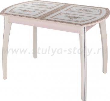 Стол кухонный Гамма ПО МД ст-72 07 КР (молочный дуб с растительным орнаментом)