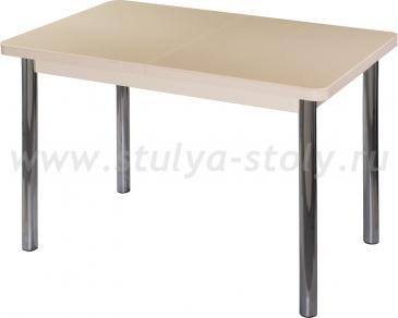Стол обеденный Альфа ПР-1 КМ 06 (6) МД 02 венге ножки хром прямые