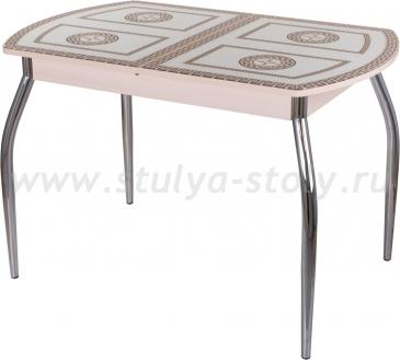 Стол обеденный Гамма ПО-1 МД ст-71 01 (молочный дуб с греческим орнаментом)