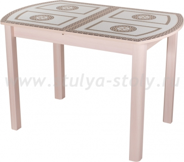 Стол обеденный Гамма ПО-1 МД ст-71 04МД (молочный дуб с греческим орнаментом)