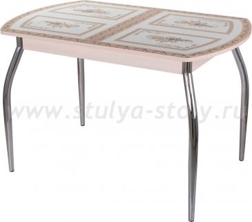 Стол обеденный Гамма ПО-1 МД ст-72 01 (молочный дуб с растительным орнаментом)