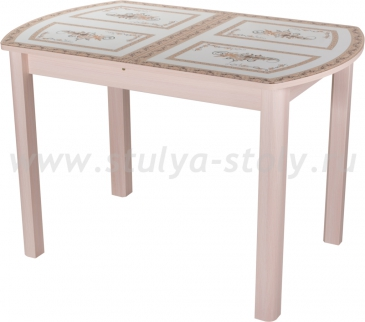 Стол обеденный Гамма ПО-1 МД ст-72 04МД (молочный дуб с растительным орнаментом)