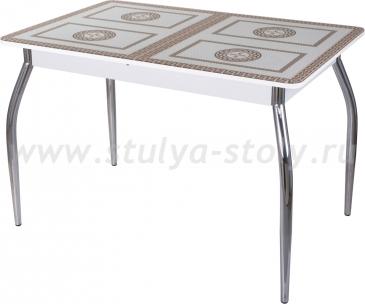 Стол обеденный Гамма ПР-1 БЛ ст-71 01 (белый с греческим орнаментом)